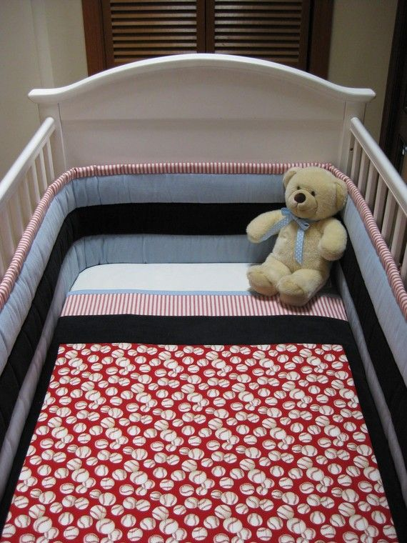 3 Piece Baseball Crib Set By Sweetdreamdesigns On Etsy