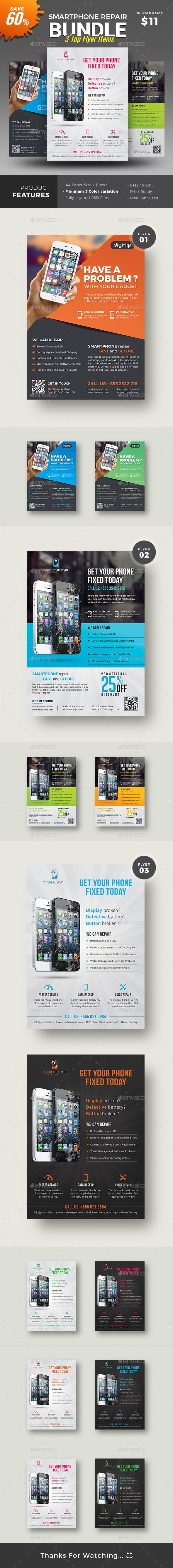Smartphone Repair Service Flyer   Smartphone, Flyer template and ...