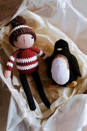 Crochet Mascots Boy And Penguin Lost And Found Oliver Jeffers Etsy Video Video In 2021 Crochet For Boys Crochet Penguin Crochet Animal Amigurumi