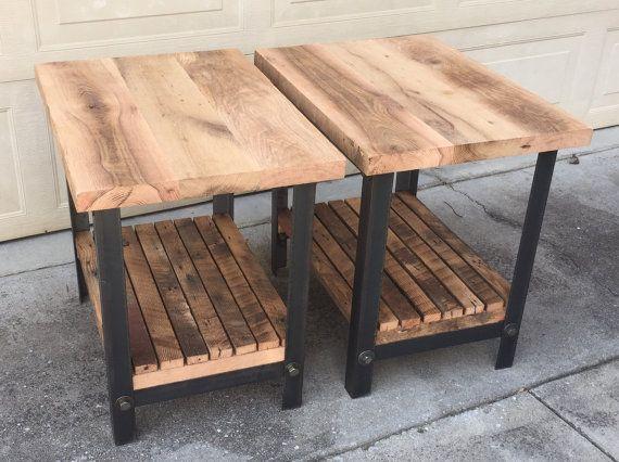 Madera natural y acero mesitas (juego de 2) mesas vilma - mesitas de madera
