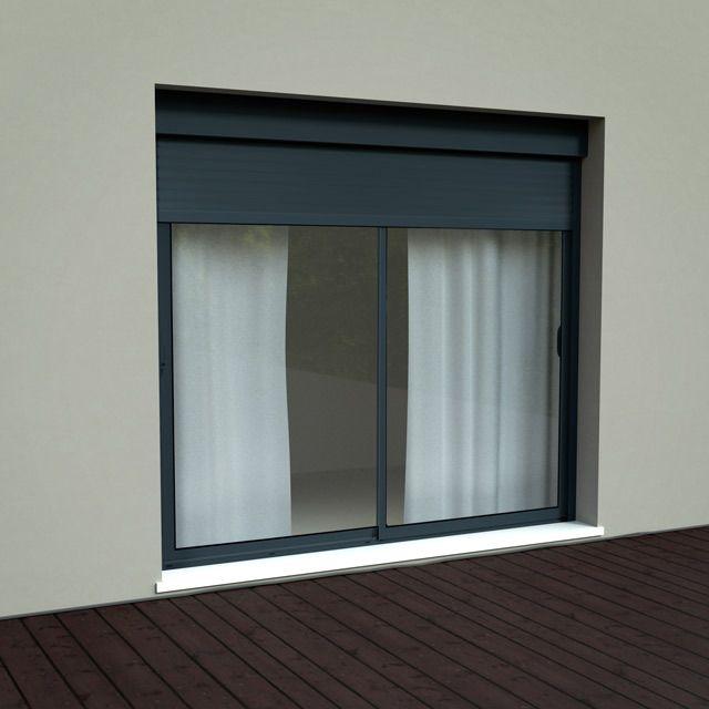 Baie Coulissante Alu Volet Roulant Integre 240cm Grise Castorama Windows Home Decor New Homes