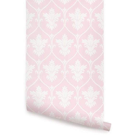 Damask Off White Pink Peel & Stick Fabric Wallpaper
