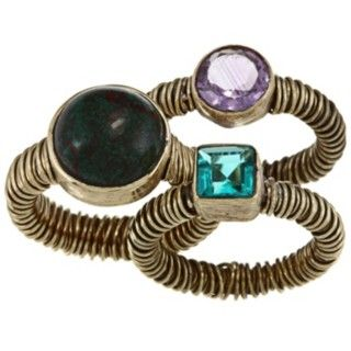 Set of three (3) rings  Glass and resin stone jewelry