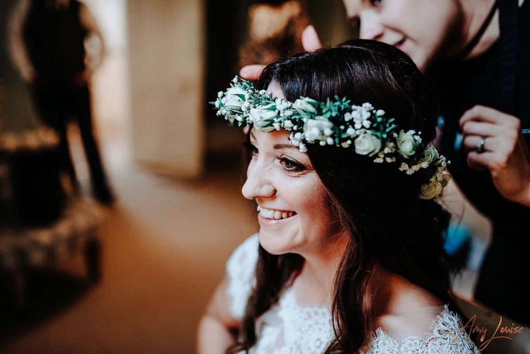wedding hair down hair up up do vintage messy sleek bridal hair dresser makeup artist Wirral Liverpool natural bride makeup flower crown green white flowers