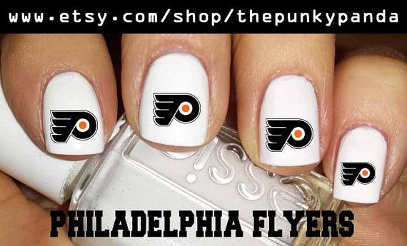 Buy 2 Get 1 Free - PHILADELPHIA FLYERS Nail Decals OR You Pick Team - Fingernails - Toenails - Big Toe - Nail Art - Nail Designs