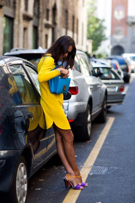 Neon color trend:  Yellow dress, neon blue Cèline bag and colorblock heels