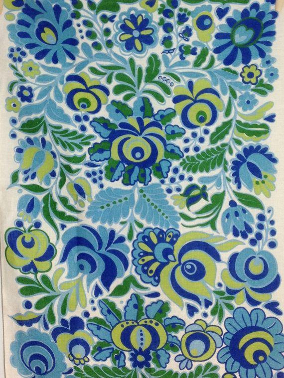 Vintage Irish Linen Tea Towel Dish Towel Blue Green By Retro68