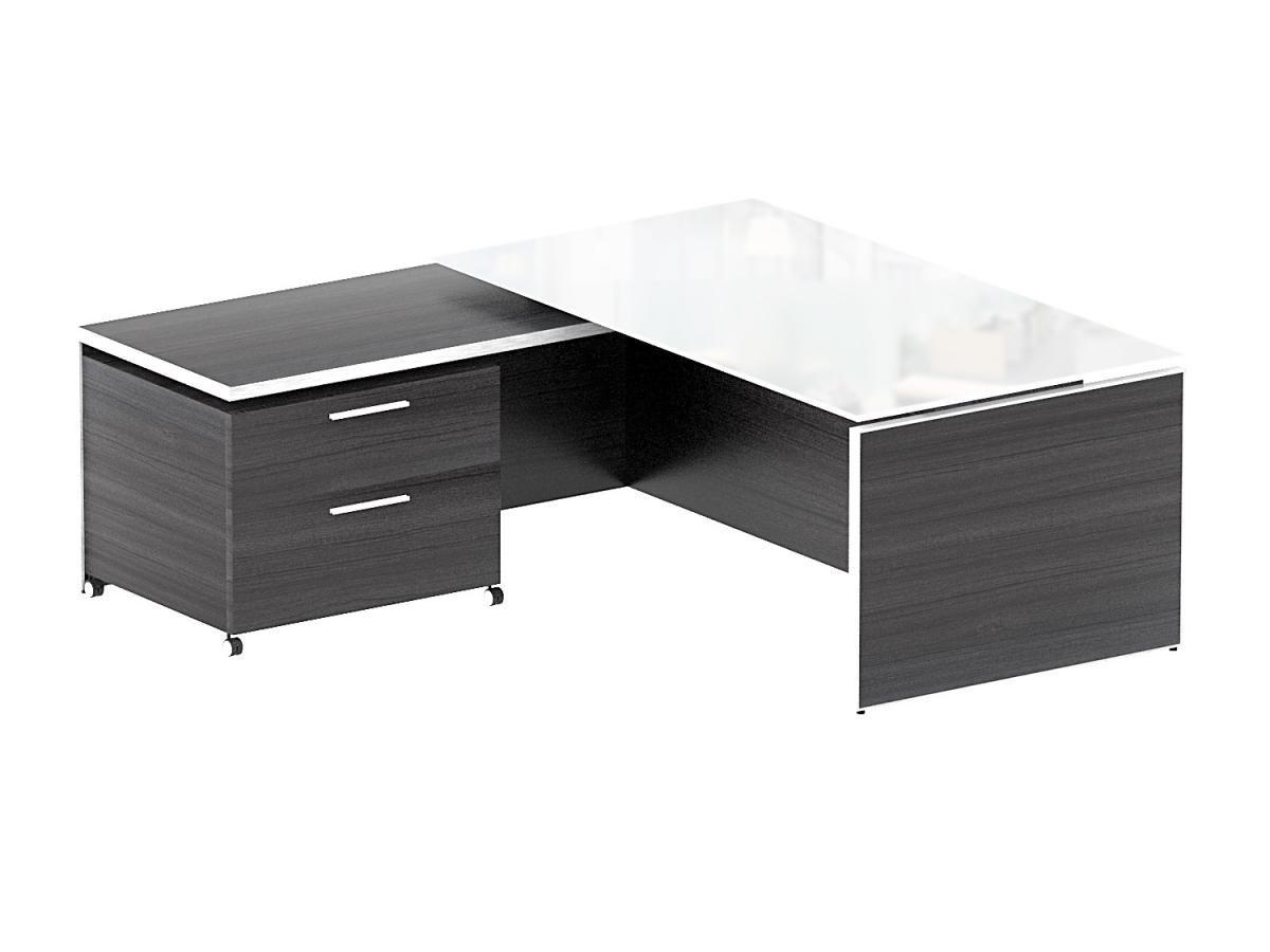 Corp Design Potenza Executive L Desk With White Glass Top Www