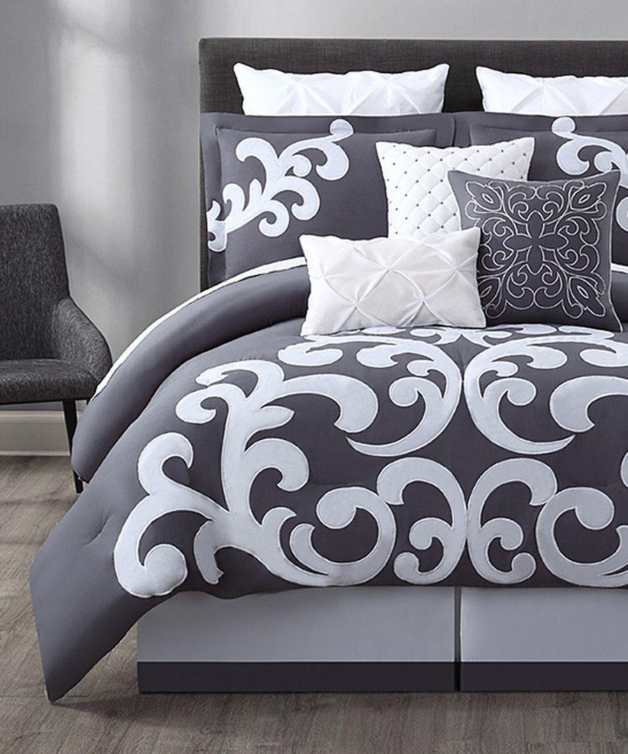 S L Home Fashions Gray White Empress Comforter Set Bedroom Comforter Sets Comforter Sets Grey And White Comforter