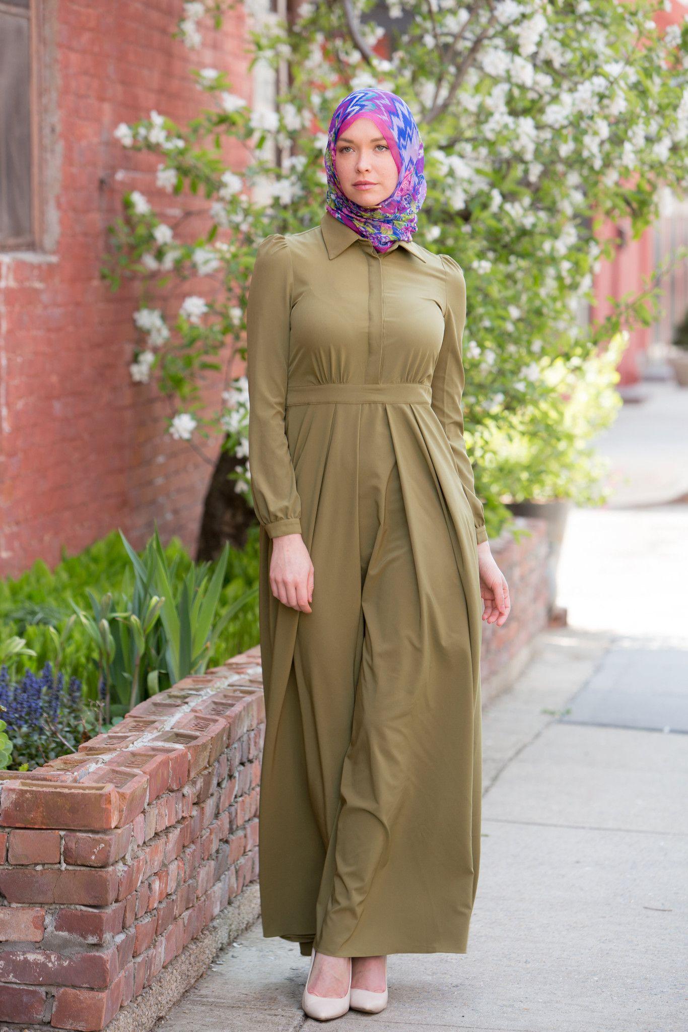 c030e65c818b Olive Lattice Maxi Dress | Hijab Fashion | Hijab Fashion, Fashion ...