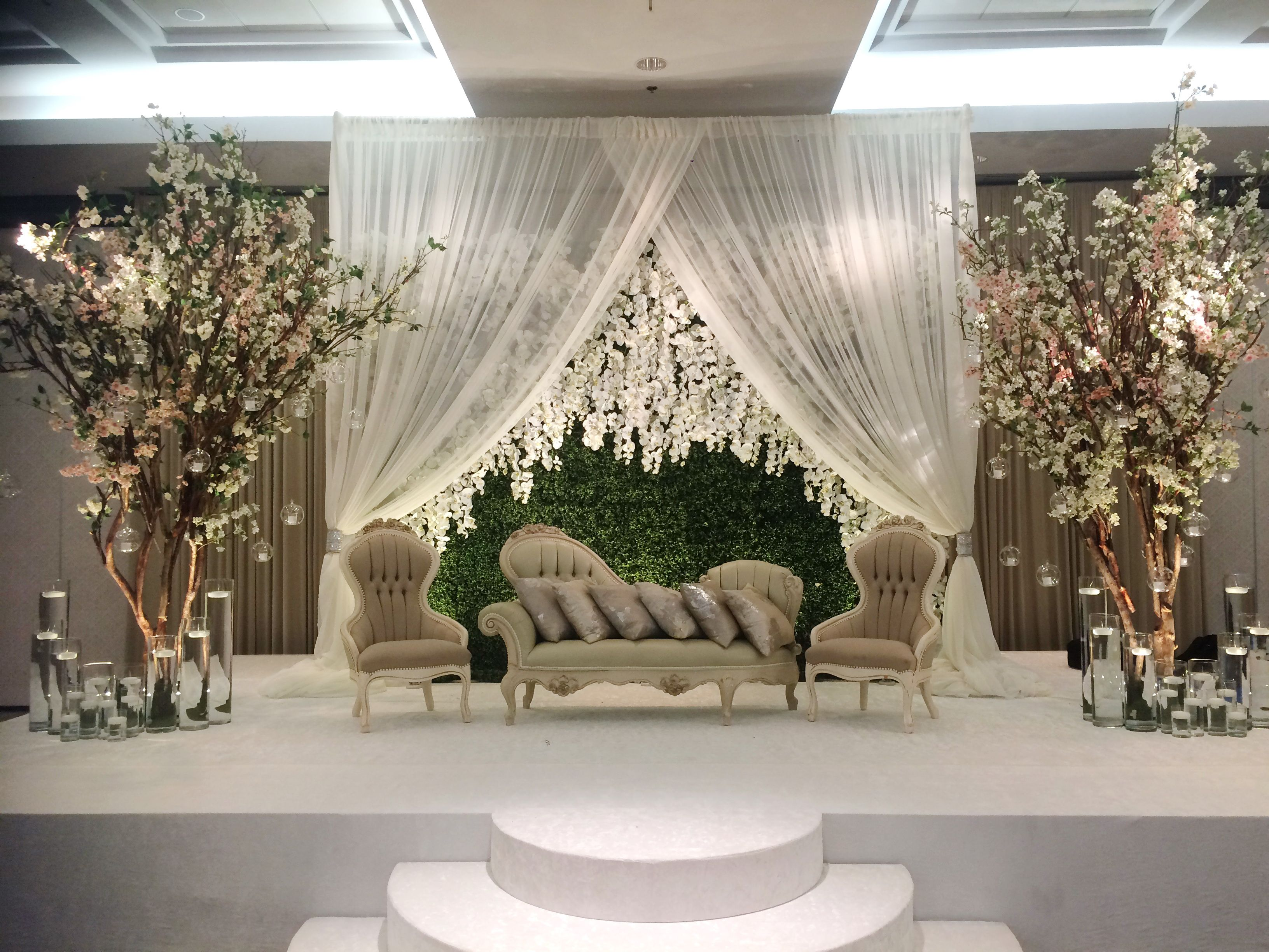 Beautiful Wedding Backdrop With Drapery And Floral Decor Event Decor Floral Decor Backdrops