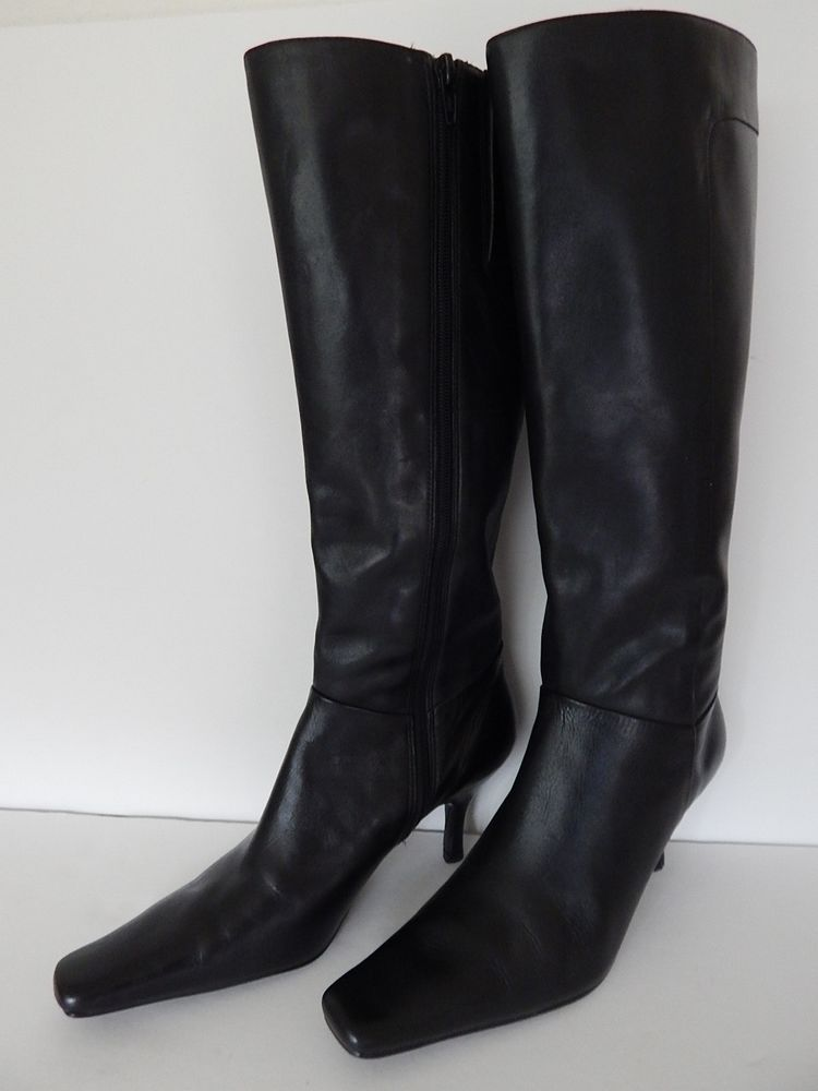 2a87833c788 High Heel Boots 7M Black Leather Bandolino Womens Tall Zip Up Dress ...