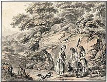 Dunker, Balthasar Anton: Idyllische, südliche Landschaft mit jungen Hirtempaar