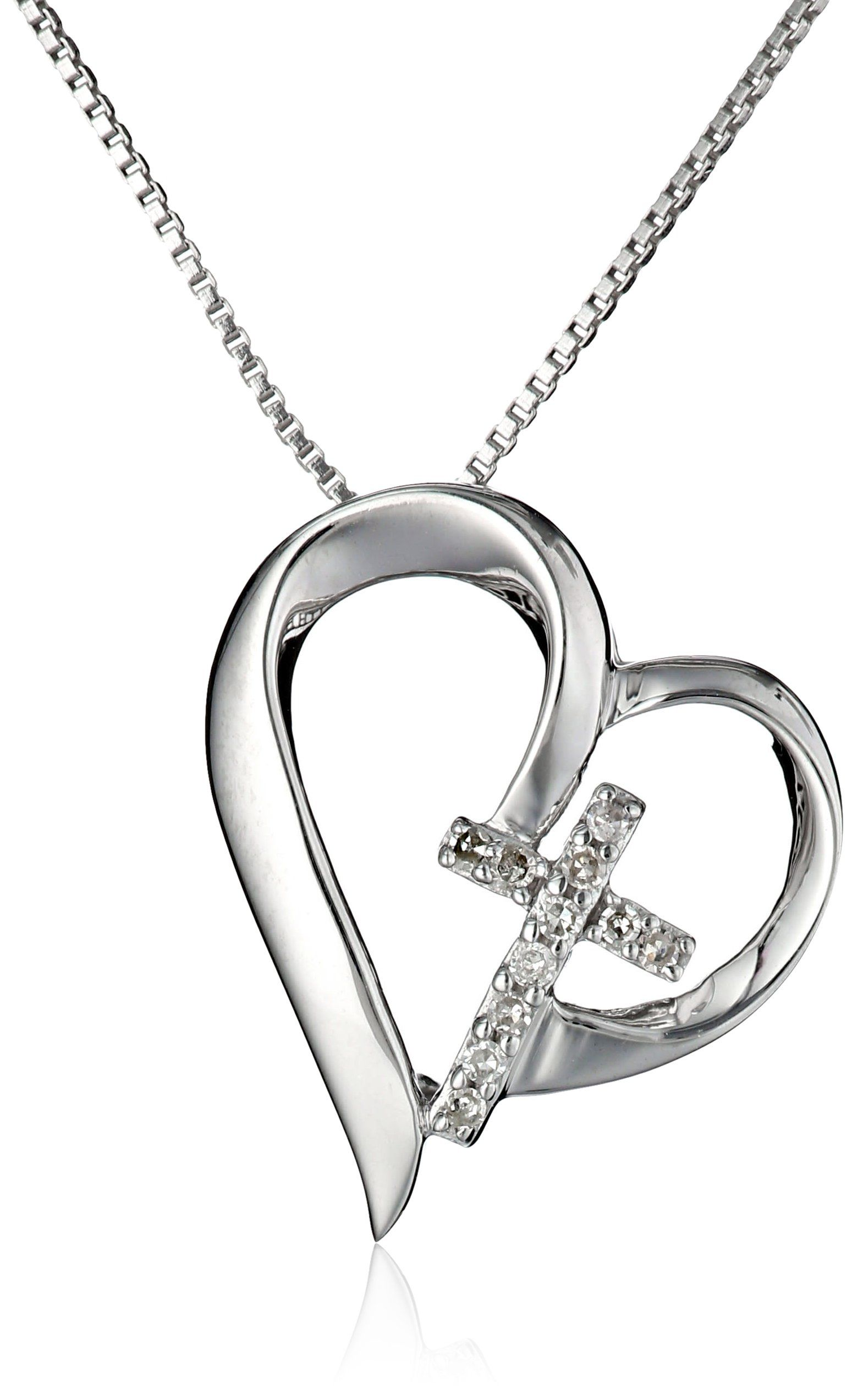 f92a94eb96d79 Sterling Silver Open Heart with Diamond Cross
