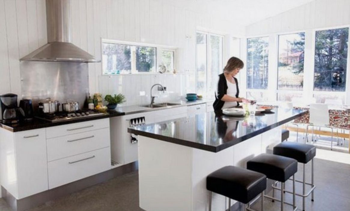 Black kitchen bench top white cupboards | Kitchen in 2019 ...