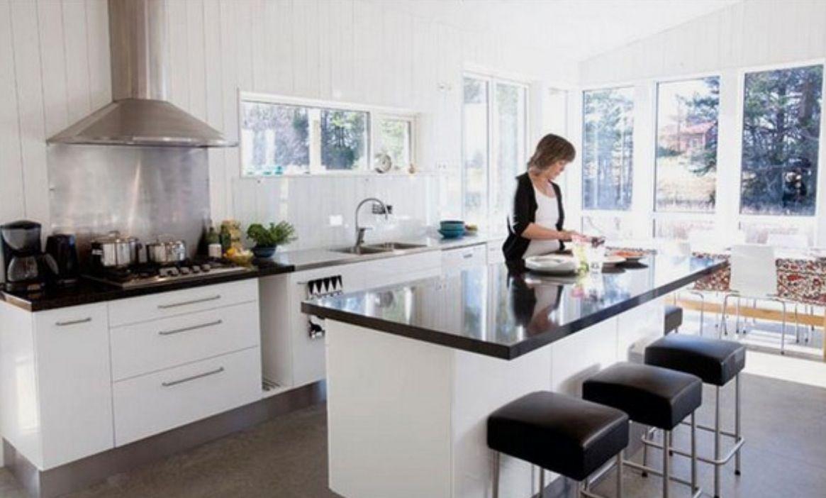 Black Kitchen Bench Top White Cupboards Black Kitchens Kitchen