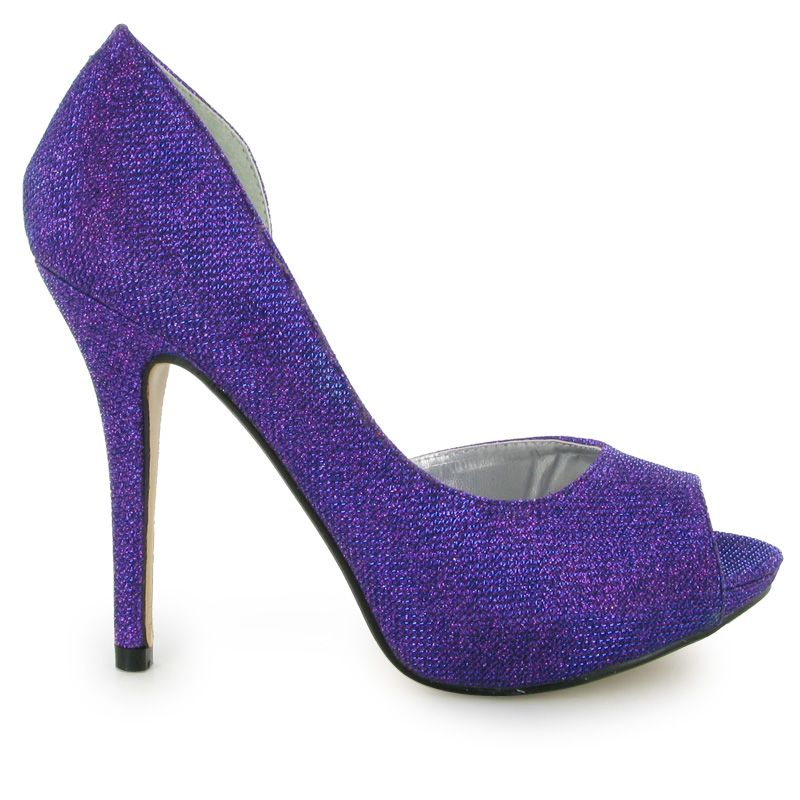 Purple Sparkly Heels | ... PURPLE EVENING PARTY GLITTER HIGH HEEL ...