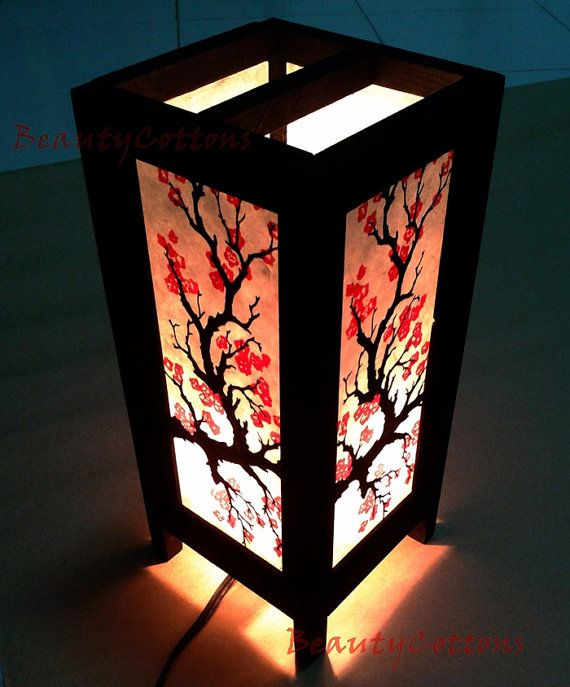 Table Lantern Lamp Or Bedside Floor Japanese By Beautycottons Painting Lamp Shades Table Lanterns Diwali Lamps