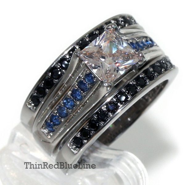Thin Blue Line Engagement CZ Ring Set Stainless Steel Princess Cut