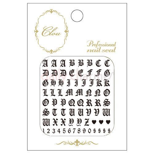 Clou Japanese Nail Art Sticker Old English Letters Black Nails