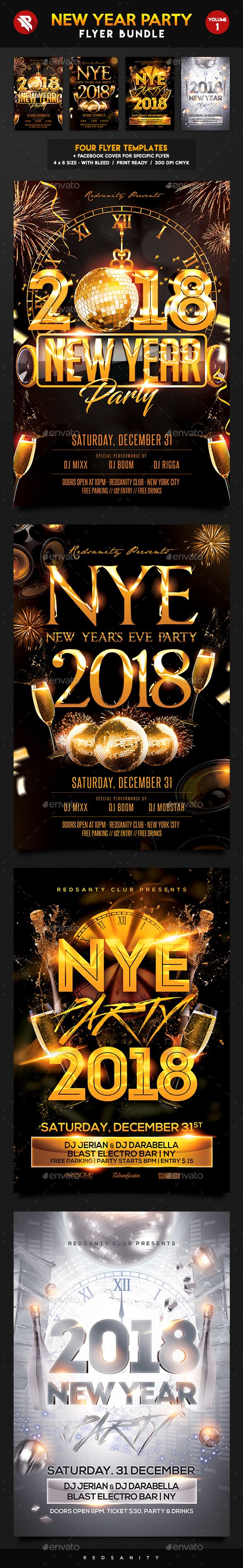 New Year Party Flyer Bundle Vol  Party Flyer Event Flyers And