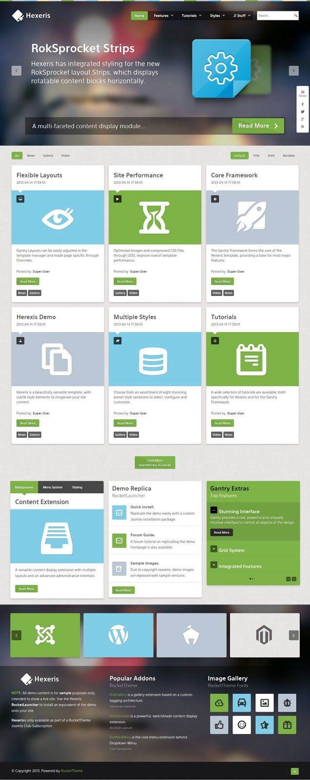 Hexeris is a beautifully versatile template with rich style elements to invigorate your site content. The template supports integrated styling for the new RokSprocket layout: Strips; as well as other layout modes. A standard assortment of features are also available, predominantly powered by the Gantry Framework, such as intuitive layout controls; as well as others, such as the advanced Dropdown Menu and RocketTheme/Third Party extension styling.