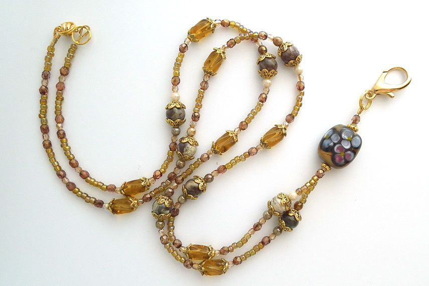 Beaded Lanyard Natural Glow, Jasper,Golden Glass, Gold Metal,Breakaway Style