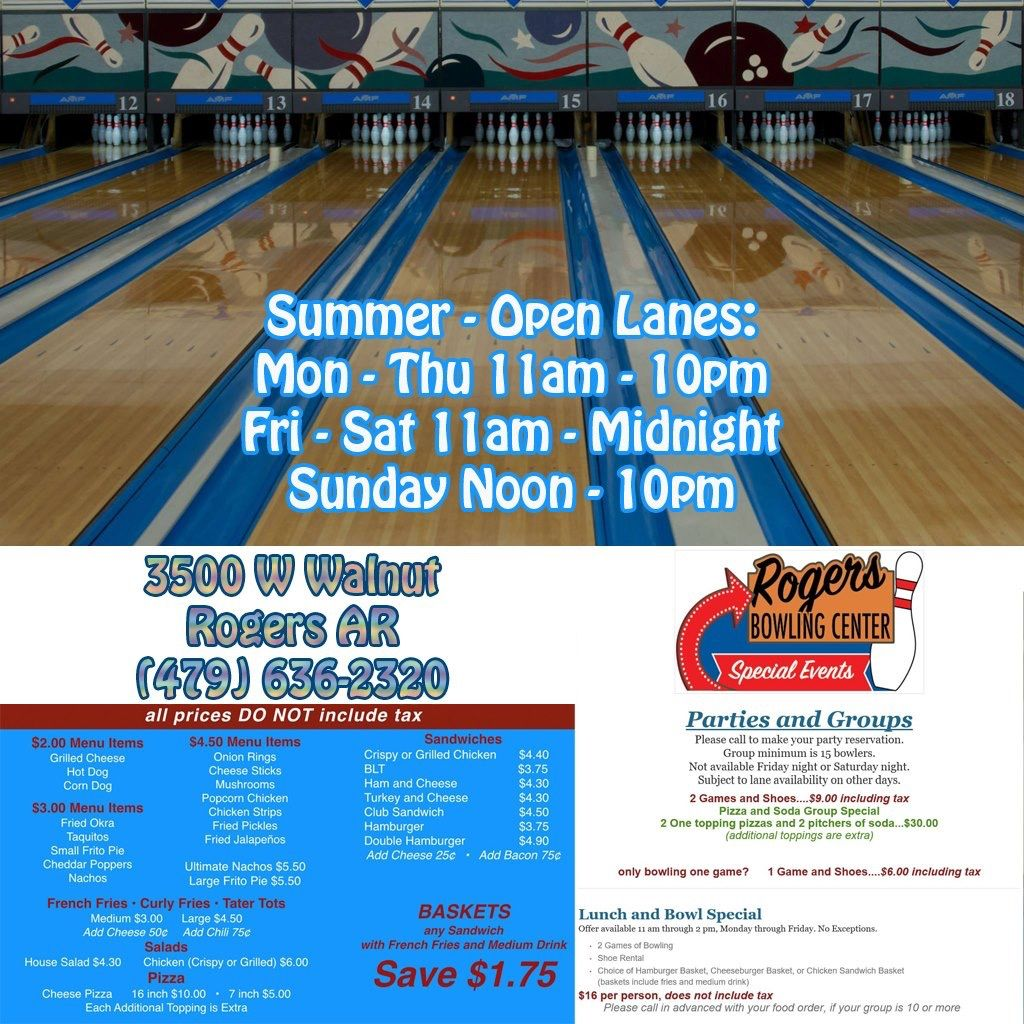 Want To Do Something Fun And Inexpensive There Are Open Bowling Lanes Available This Summer Rogers Bow Happy Hour Specials Event Entertainment Bowling Center