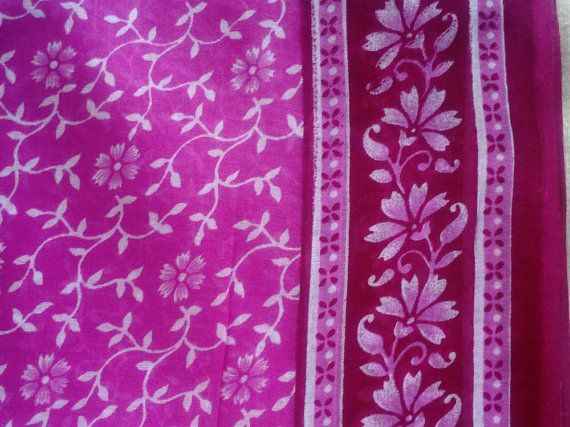 Pink Sari Saree Fabric Block Print Fabric Soft Cotton