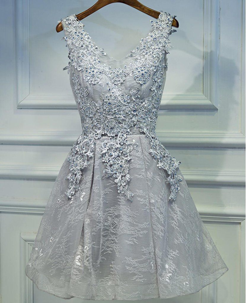 Two Straps Gray Lace Beaded Homecoming Prom Dresses, Affordable ...
