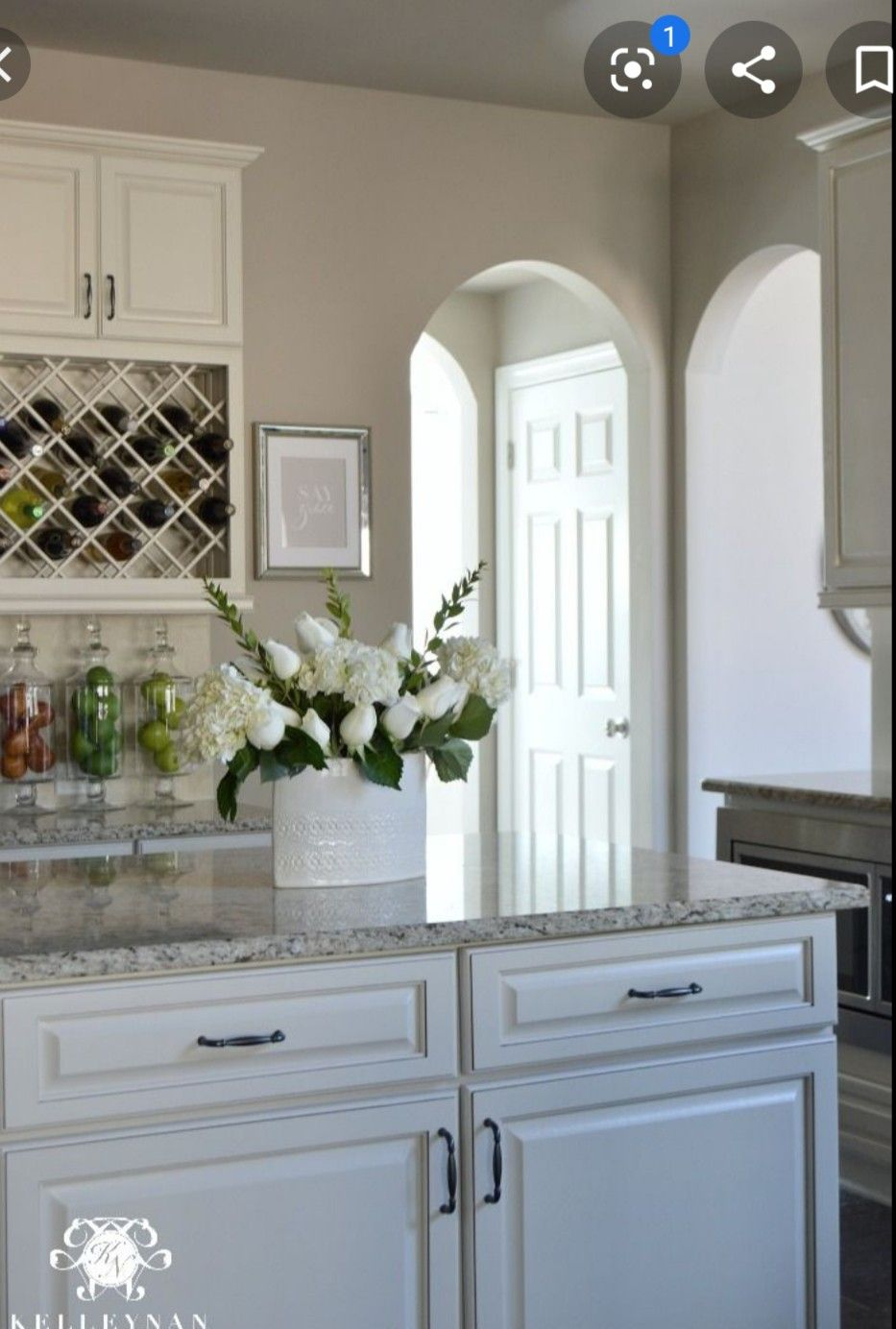 Greige Walls White Cabinets In 2020 Painted Kitchen Cabinets Colors Greige Kitchen Neutral Kitchen Colors