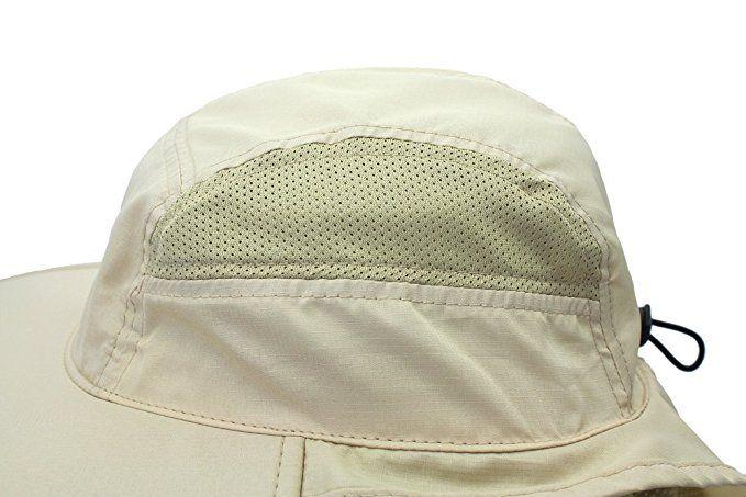 ae5a77f8c6dc55 Amazon.com: Lenikis Unisex Outdoor Activities UV Protecting Sun Hats with Neck  Flap Khaki: Clothing