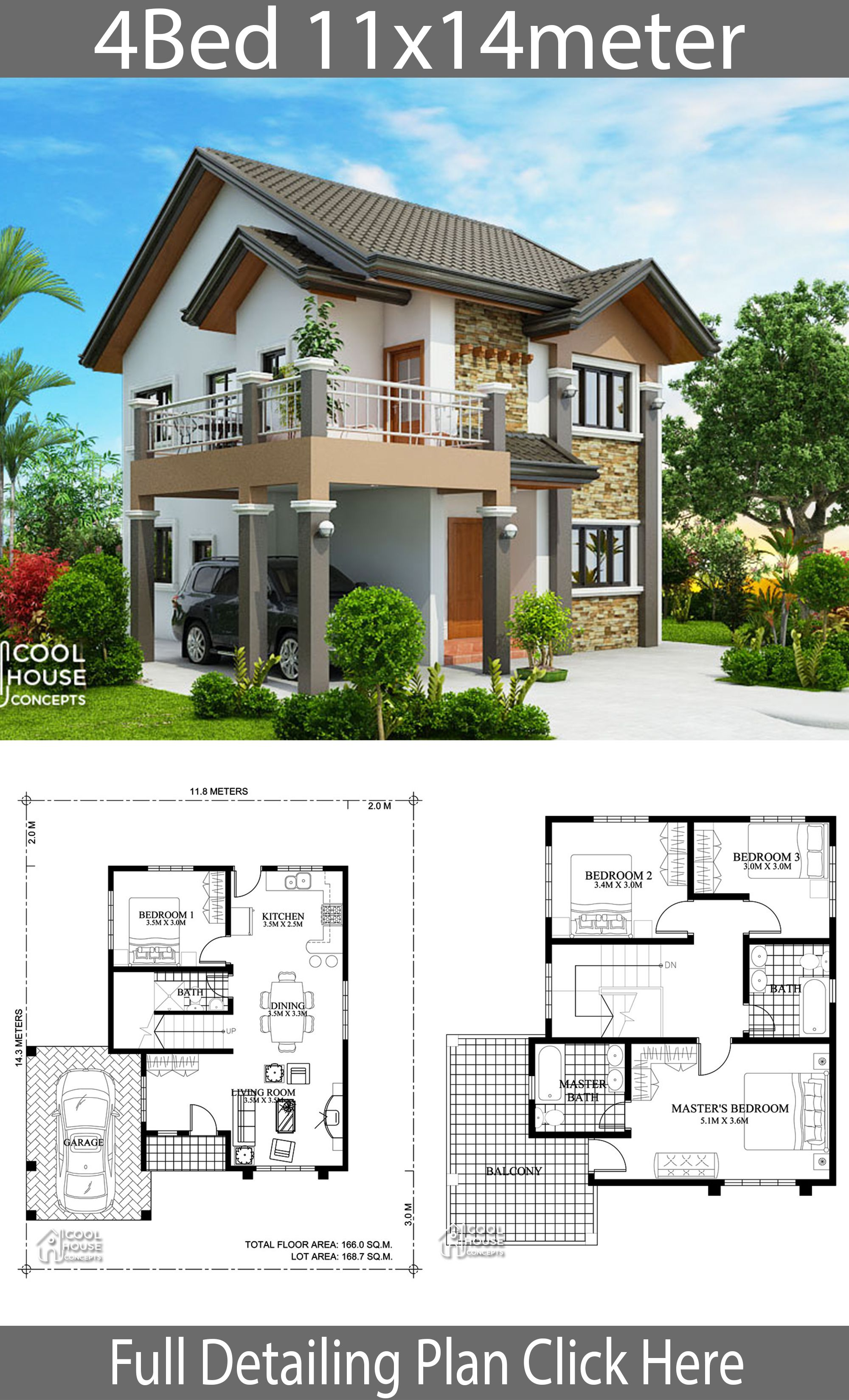 Home design plan 11x14m with 4 bedrooms | Cool house ...