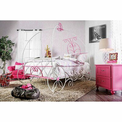 Zoomie Kids Wellman Canopy Bed Size Twin Bed Frame Colour Pink
