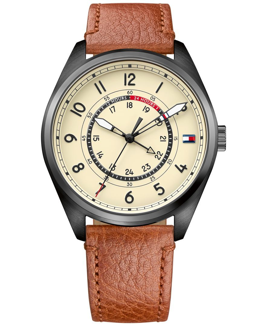 Tommy Hilfiger Men s Casual Sport Brown Leather Strap Watch 44mm 1791372 1ea4ae3264f