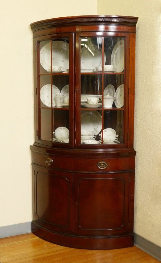 Corner China cabinet--great idea for window area near table--PAIR DREXEL  TRAVIS COURT MAHOGANY CORNER CABINETS : Lot 217 - PAIR DREXEL TRAVIS COURT MAHOGANY CORNER CABINETS On In 2018 Home