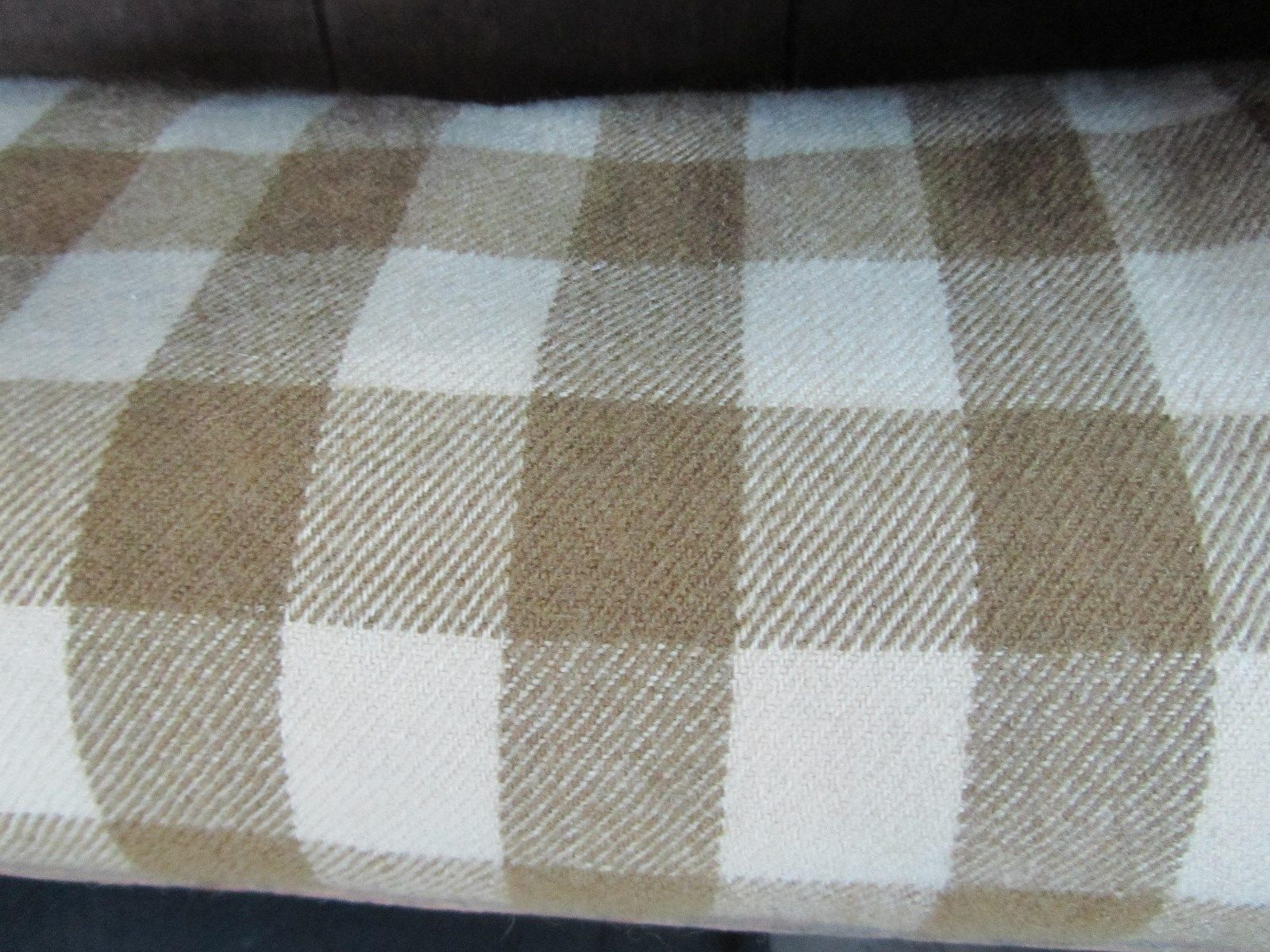 Early Antique Wool Plaid Blanket Cream Khaki Color 67 x 68 AAFA | eBay