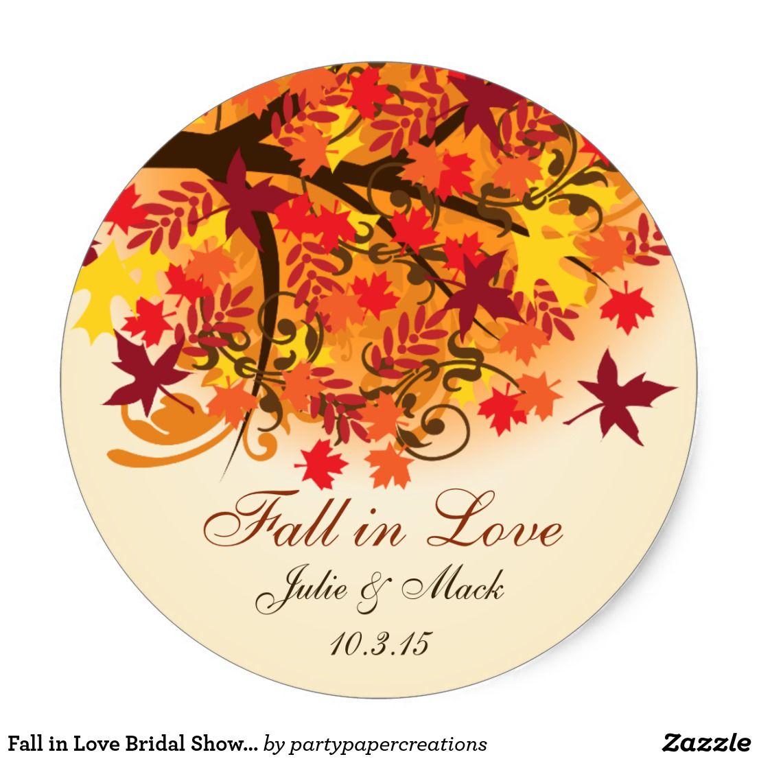 Fall in Love Bridal Shower Wedding Sticker Label | { Wedding ...
