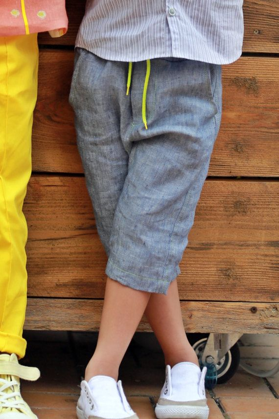 Three quarter length trousers/Boys linen drop crotch pants ...