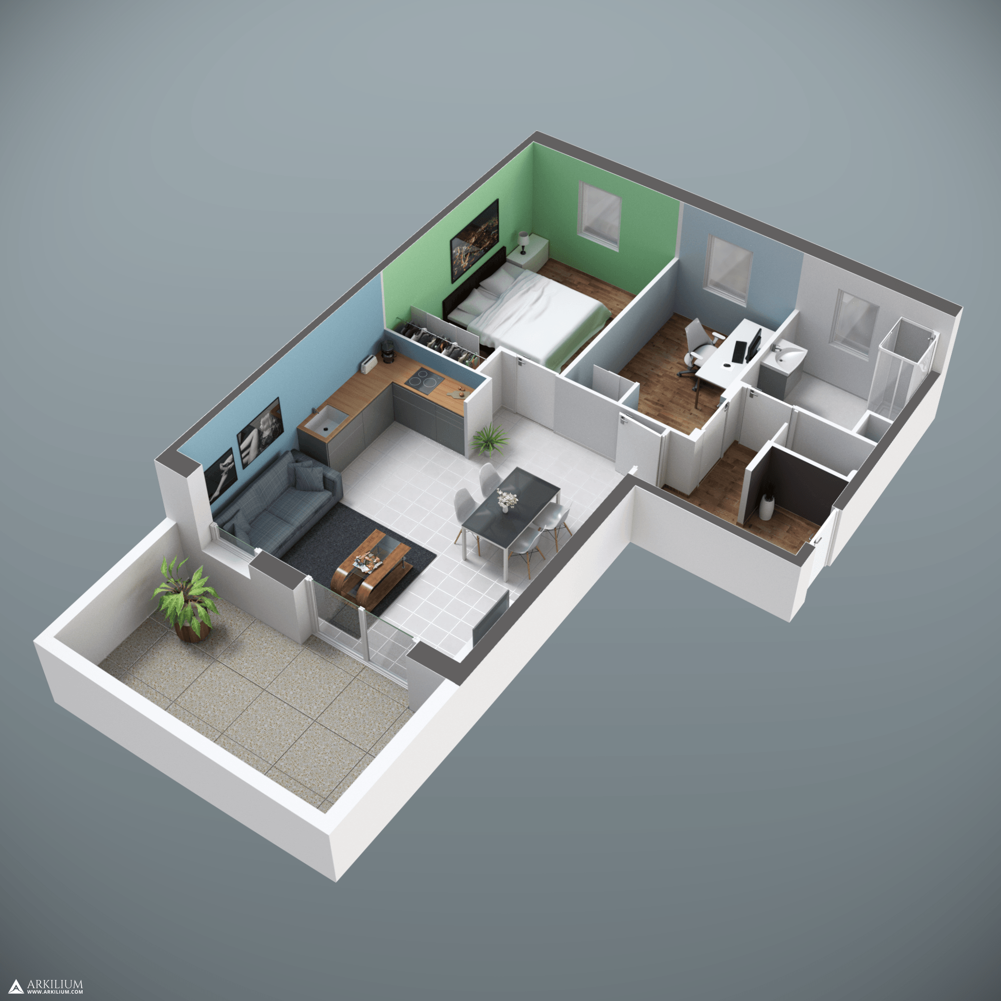 Photorealism 3d Blueprint Of An Apartment On Blender Cycles Www Arkilium Com 3d Rendering
