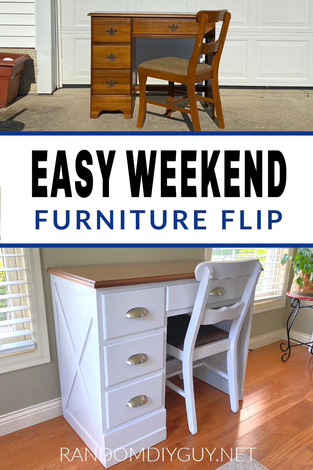 Check out this desk makeover to see how easy it is to refinish old furniture into more modern pieces with only trim, paint, and new hardware! #RandomDIYGuy #makeover #refinish #furnitureflip #restore #painted