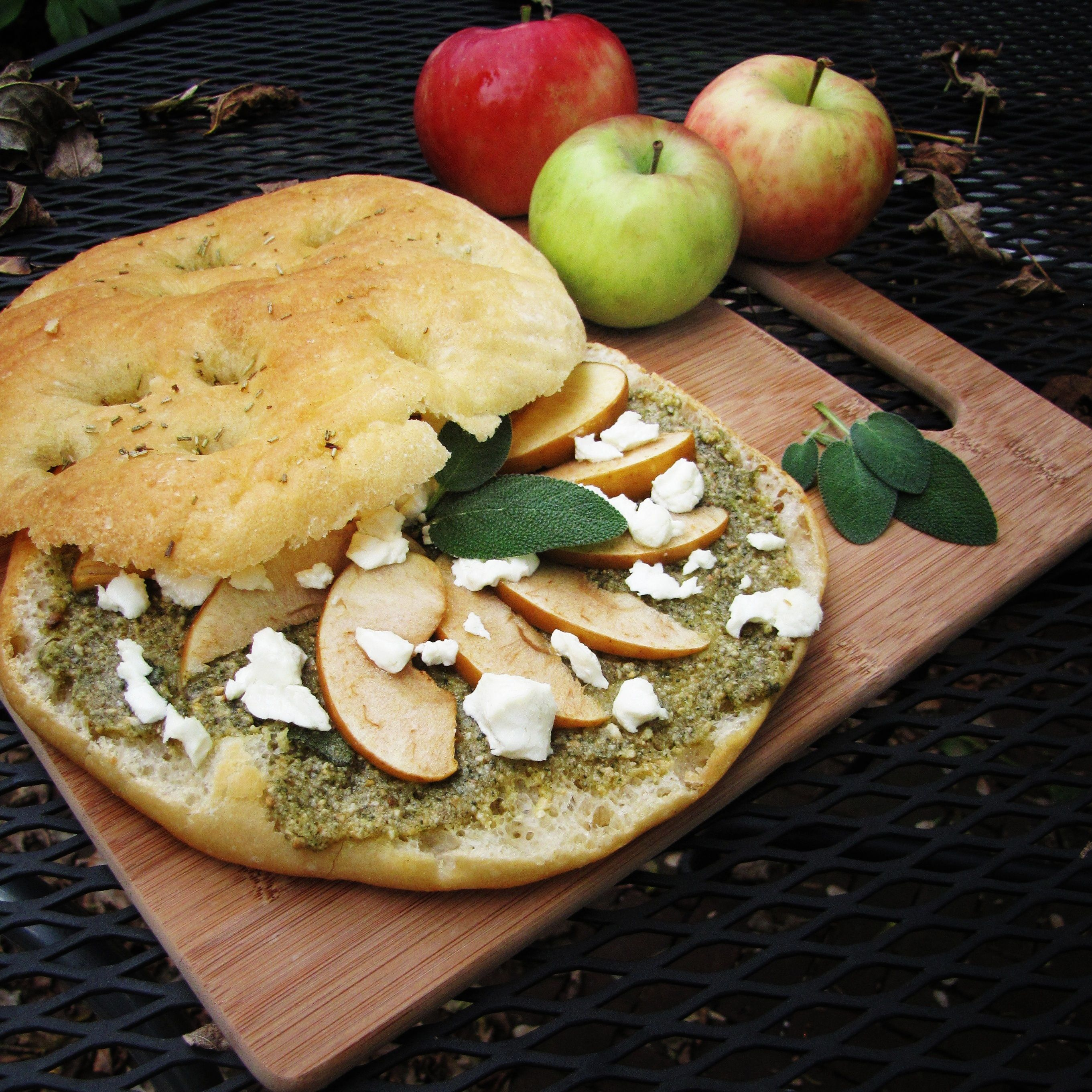 Sage Pesto, Apples, and Fall -- the sage pesto is tasty!  I'm thinking of roasting fingerling potatoes and/or squash with it, and making a sandwich with proscuitto and apples.