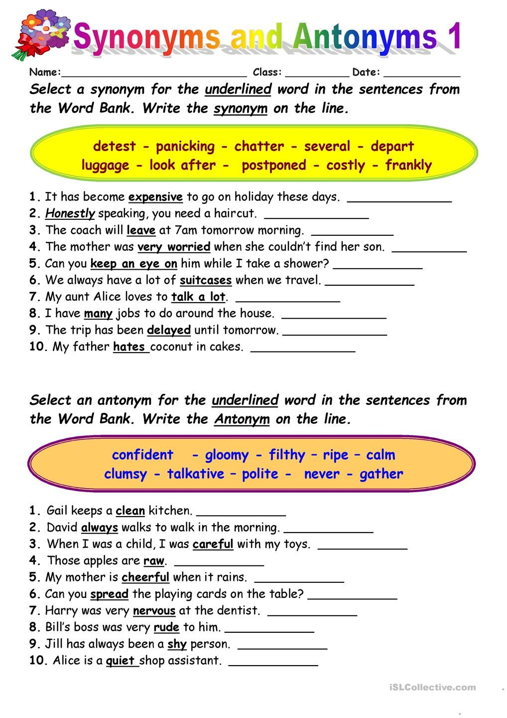 Synonyms vs Antonyms 1 | Ingles | Pinterest | Englisch