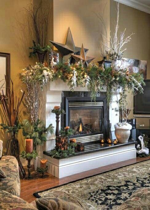 20 Rustic Christmas Home Decor Ideas Christmas Fireplaces