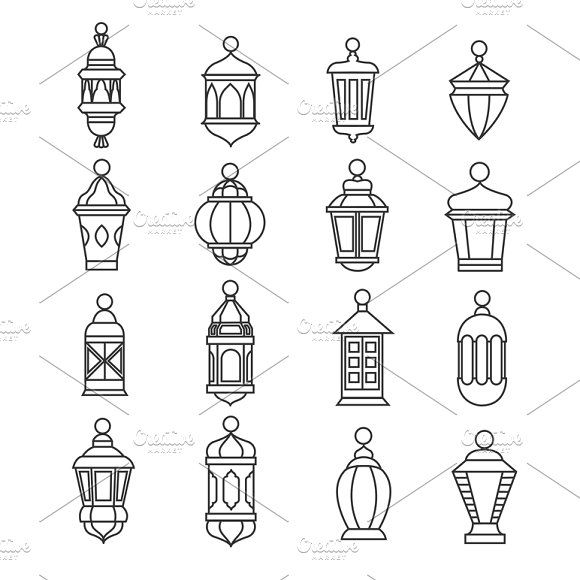 Muslim antique lamp symbols by Microvector on