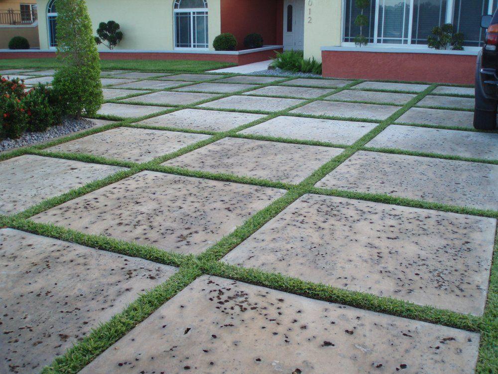 Flatwork Concrete Paver Patio Artificial Grass Backyard
