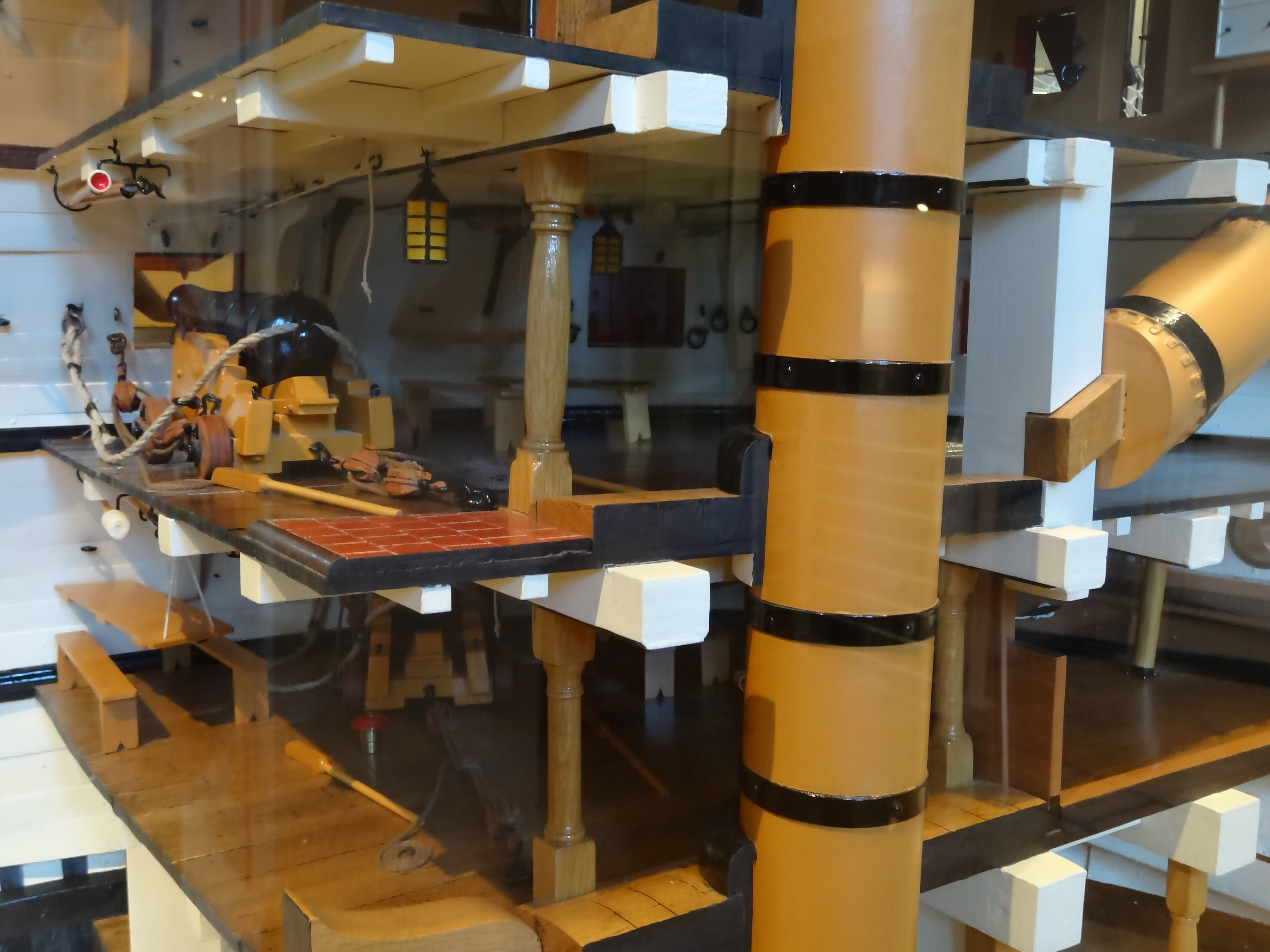 Section through HMS Victory. Model in the HMS Victory Museum, Portsmouth Historic Dockyard.
