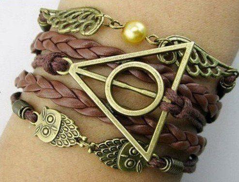 Parure Harry Potter Collier retourneur de temps bracelet marron bronze hiboux