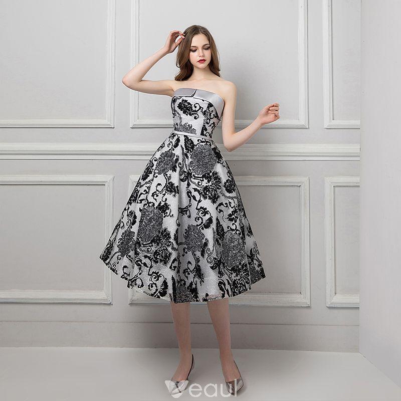 Chic / Beautiful Silver Black Jacquard Prom Dresses 2019 A ...