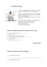English worksheet: Happy Feet. Reading comprehension | classroom ...